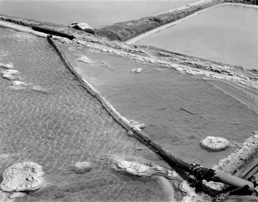 salt ponds on 5x4 film uses digital photography for final processing